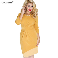 Buy 2017 New Summer Women Solid Dress Plus Large Size O-Neck Work Sexy Knee-Length Pencil Dress Elegant Dress Clothing 4XL 5XL 6XL for $21.98 in AliExpress store
