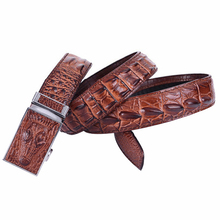 2015 Mens belts luxury genuine leather Crocodile designer Automatic belt men buckle 100 Real Cow skin