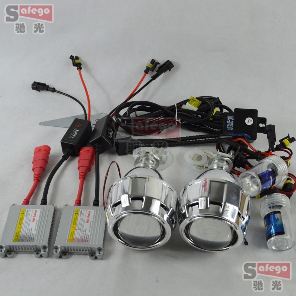 HID Headlight bi-xenon h7 projector lens 2.5 inch with mask shroud hid xenon DC ballast h1 xenon lamps 6k for headlamp H1 H7 H4(China (Mainland))
