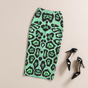 Summer Autumn Pencil Skirt Women High Waist Vintage Elegant Bodycon Green/Camel Leopard Print Midi Skirts Female faldas largas