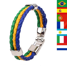 2014 World Cup National Flags Braid Leather Bracelets Friendship Pu Alloy Cuff Braclet Male Women Pulseira de Couro Masculina(China (Mainland))
