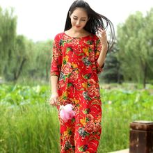 2016 new Summer Style Women Dresses National Glasses Trend Vintage Flower Print Long Maxi Dress Fluid Loose 4 Colors Linen Dress