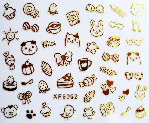 Гаджет  Cute 18K Golden Cat Panda Rabbit 3D Nail Decals Nail Art Decoration Sticker Tips Drop Shipping XF6062 None Красота и здоровье