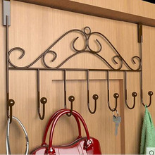 Over Door Hook Chrome Hanger Organizer With 7 Clothes Hooks for Bathroom Kitchen & Living Room(China (Mainland))