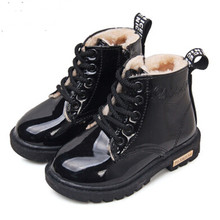 2015 Hot Item New Bota Children Snow Boots PU Patent Leather Children Martin Boots Fashion Boys