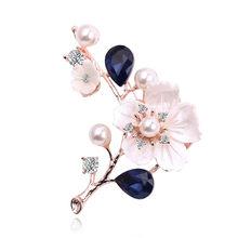 Fatti a mano Naturale Borsette di Cristallo Plum blossom Spille pins per Le Donne Dell'annata D'acqua Dolce Pearl Spilla Bouquet Da Sposa(China)