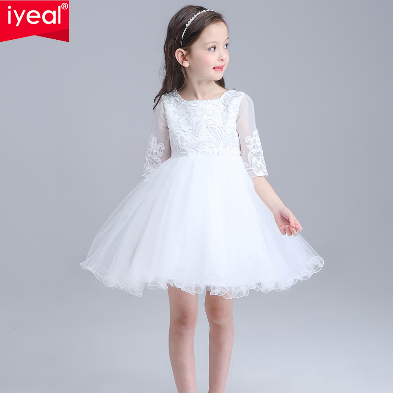 Kids Girls Bridesmaid Wedding Prom Party Ball Gown Formal Flower Party Dresses 2016 Toddler Infant Nine Quarter Princess Dresses(China (Mainland))