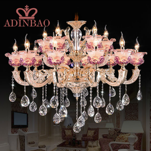 Modern Pink Crystal Lights Crystal Chandeliers Pendant Lamp Dining Room Living Lobby lamp Lighting E14 LED Candle Bulb 8531-10+5(China (Mainland))