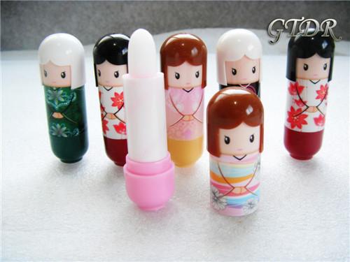 New fruit nature organic lip balm lipstick Cute Cartoon Lip balm kimono doll fruit lip balm nourishing moisturizing repair(China (Mainland))
