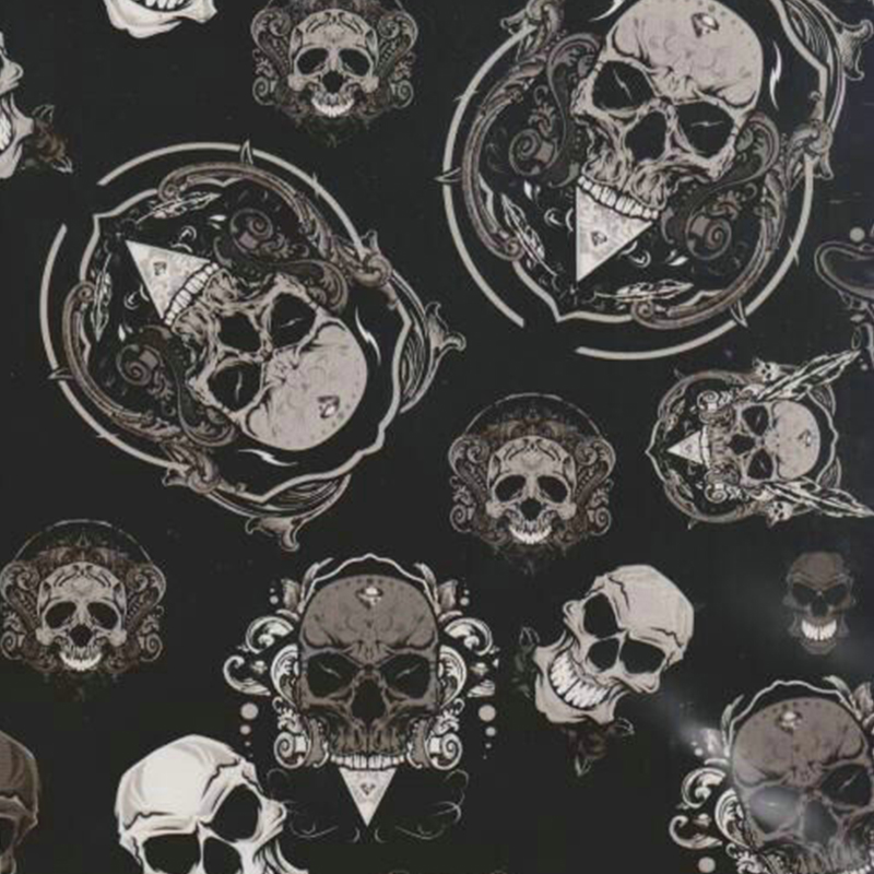 TAkw037 0.5m*10m Popular Skull Black Water Transfer Printing Film Hydrographic Film Liquid Image(China (Mainland))
