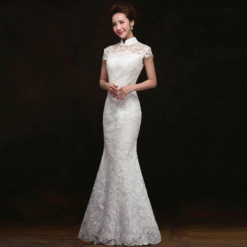 Chinese Traditional Dress White Lace Fishtail Wedding Qipao Dress Chinese Bride Mermaid Wedding Cheongsam Dress Long Cheongsam(China (Mainland))