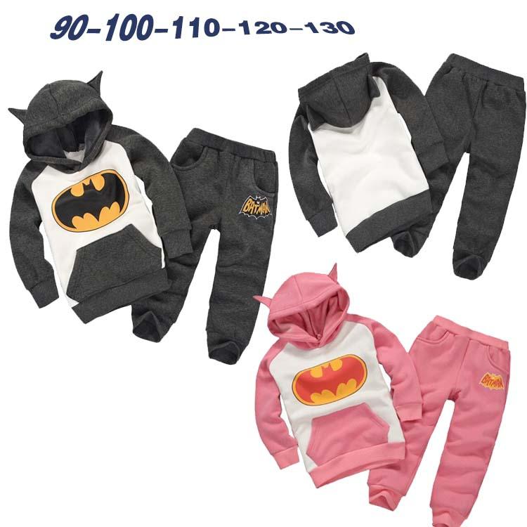 Retail New Fashion 2016 Children Outfits Tracksuit Batman Clothing Children Hoodies + Kids Pants Sport Suit Boys Clothing Set(China (Mainland))