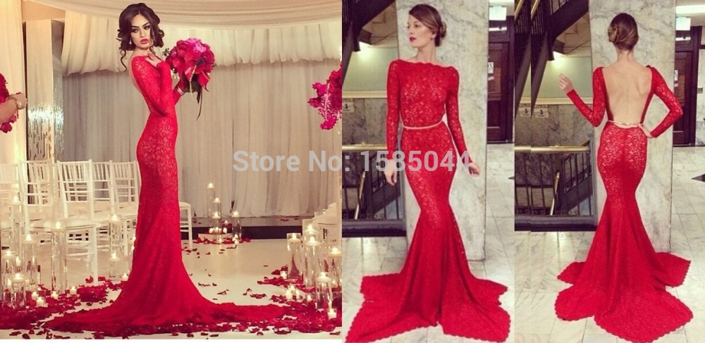 Popular Red Backless Long Sleeve Gown-Buy Cheap Red Backless Long ...