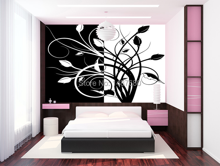 Any size abstract black and white pattern large mural for Black and white wallpaper for bedroom