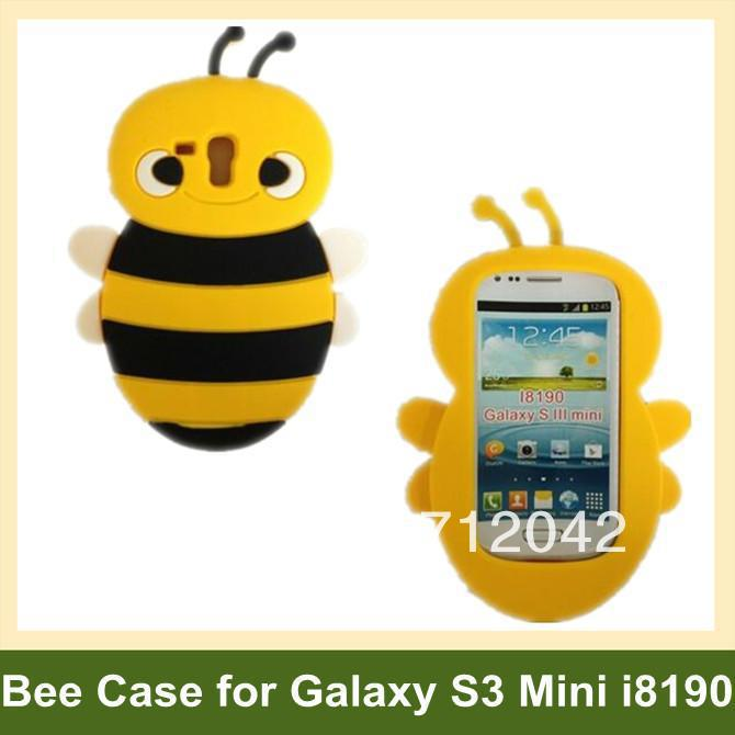 60pcs X 3D Bee Cover Case for Samsung Galaxy SIII Mini i8190 Soft Silicone Case for Galaxy SIII S3 Mini i8190 DHL/EMS Free Ship