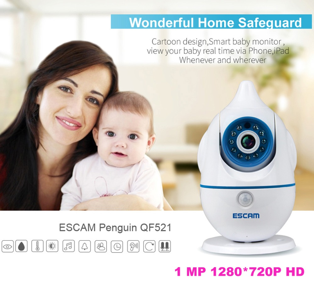 Newest ESCAM Penguin QF521 WIFI IP Camera Baby Care Temperature and Humidity Sensors Two Way Audio with Voice Alarm Baby Monitor(China (Mainland))
