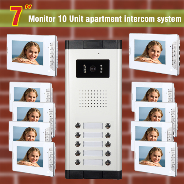 2016 New 10 units apartment intercom system video doorbell intercom system for apartments video door phone home intercom system(China (Mainland))