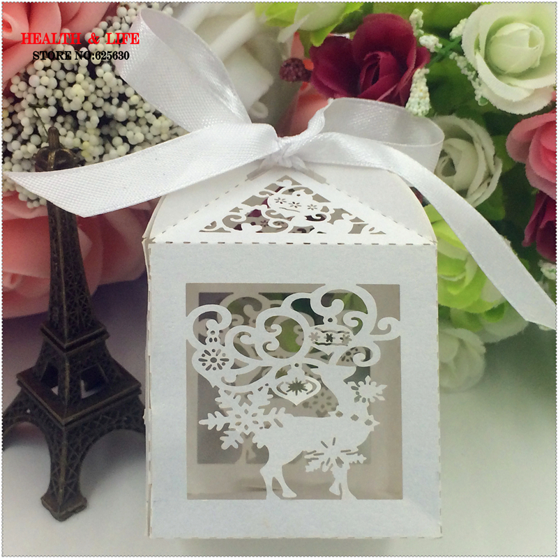 2016 Laser Cut 5Christmas Reindeer wedding box white Pearl Paper,Party shower candy box,Christmas decoration favor gifts - Health & Life store