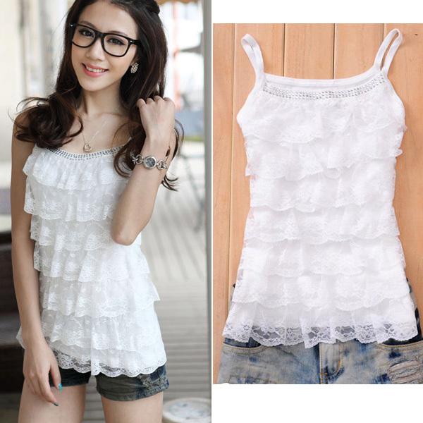 Sweet Girls Women Lace Halter Mini Shirt Tiered Top Blouse Sleeveless(China (Mainland))