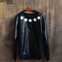 Men's hip-hop sets all leather PU The round collar loose Big yards render unlined upper garment The locomotive fur fleece male(China (Mainland))