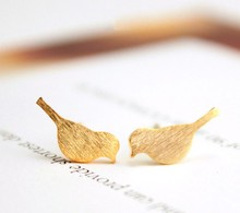 New Fashion Brushed Bird Stud Earrings for Women Classic Animal Bird Women Earrings Party Gift(China (Mainland))