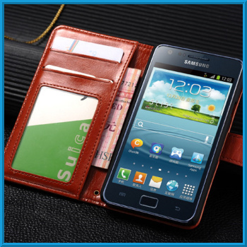 Luxury Leather Flip Case For Samsung Galaxy S2 I9100 Stand Case For Galaxy S2 I9100 Case With Photo Frame Credit Card Holders
