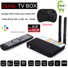 Buy 3GB/32GB CSA93 Amlogic S912 Octa Core Cortex-A53 Android 6.0 TV Box BT4.0 2.4G/5.8G Dual WiFi H.265 4K 1000M Smart Meida Player for $56.28 in AliExpress store