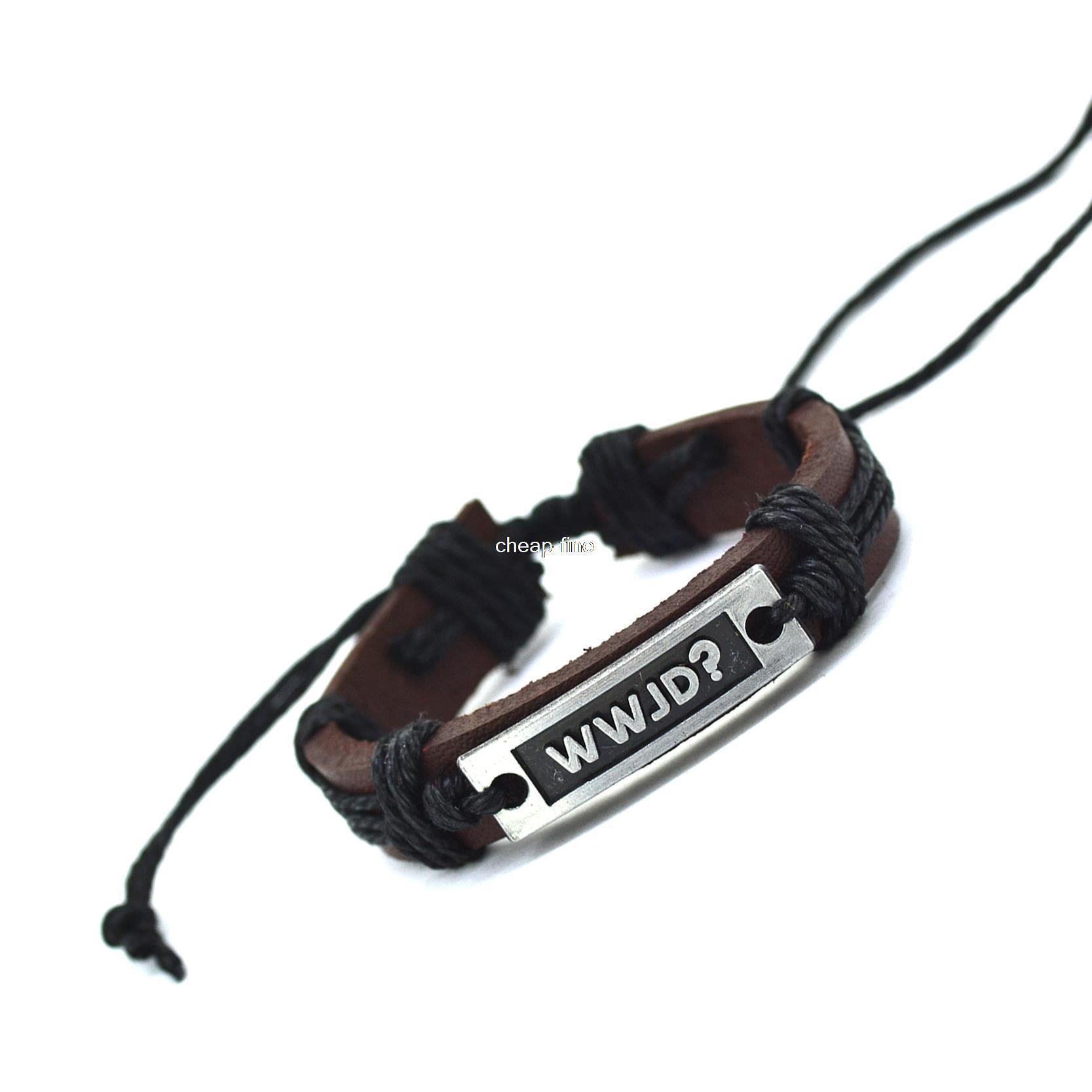 What Would Jesus Do (WWJD)Charm Genuine Leather Letter Bracelet Cuff Braided Wrap Bracelet & Bangles Fashion For Women Men Gifts(China (Mainland))