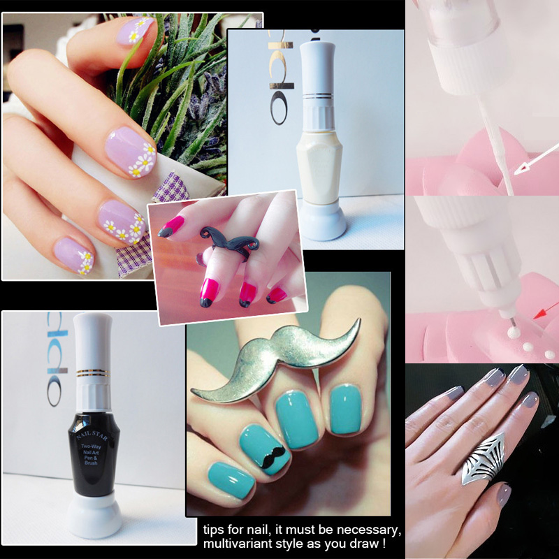 2 in 1 3D tips for nail gel polish for design, dual purpose paint drawing point pen pin brush for painting , Nail art supplier<br><br>Aliexpress