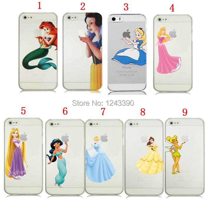 For iPhone 4 4s 5 5s Princess Snow White Alice Cinderella Rapunzel Girl Tinker Bell Transparent Clear Cover(China (Mainland))