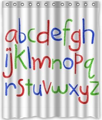 Custom Alphabet Word Shower Curtain 60 X 72 Bathroom Decor Fabric In Shower Curtains From