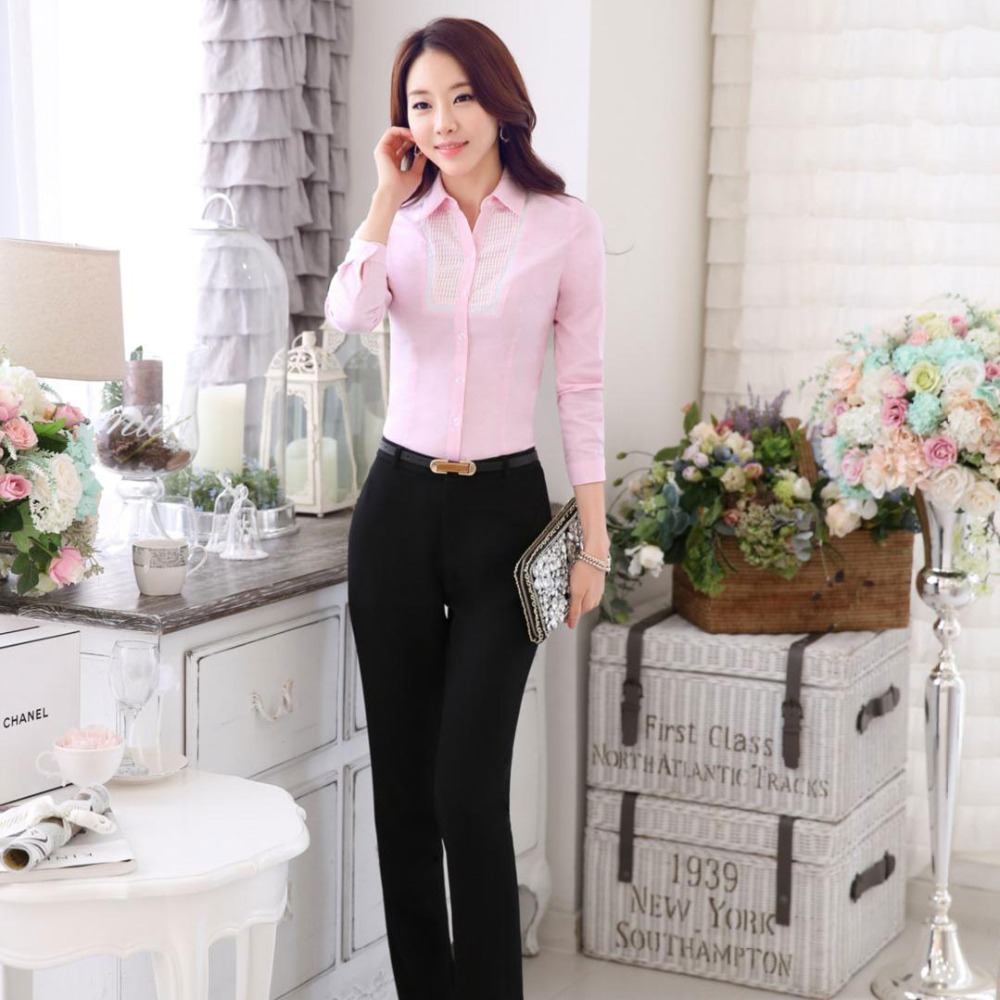 Autumn ladies office uniform designs women shirts with for Office uniform design 2016