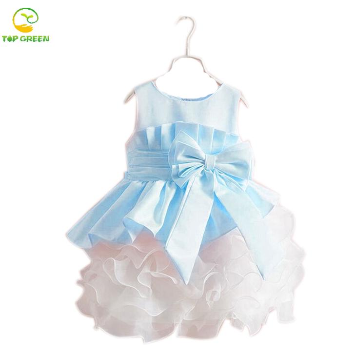 2016 new sleeveless Waist Chiffon Dress Girls Toddler 3D Flower Tutu Layered Princess Party Bow Kids Formal Dress(China (Mainland))