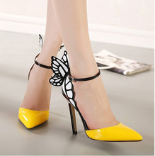 Big Size 2016 Thin High Heels Women Pumps 8/11cm ,Butterfly Heels Sandals,Sexy Wedding Shoes Party yellow purple black(China (Mainland))