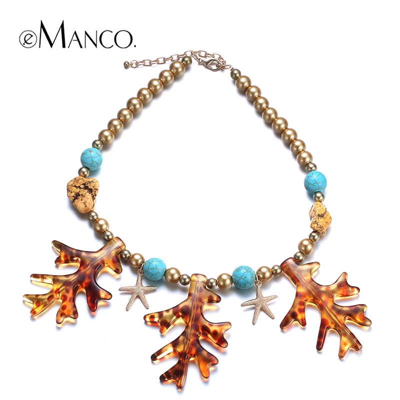 //Bead chain necklace resin coral pendant// starfish necklace gold plated trendy summer jewelry 2015 new arrival eManco NL12568(China (Mainland))