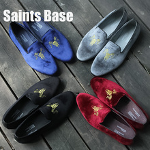The fall male leisure shoes slip-on velvet embroidery series 2016 new leather men's shoes are comfortable loafer free shipping(China (Mainland))
