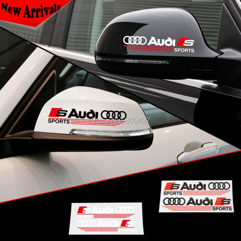 20 x Newest Design Car Rear View Decoration Stickers Car Decals For Audi Sports S3 S4 S5 S6 S7 S8 Sportback(China (Mainland))