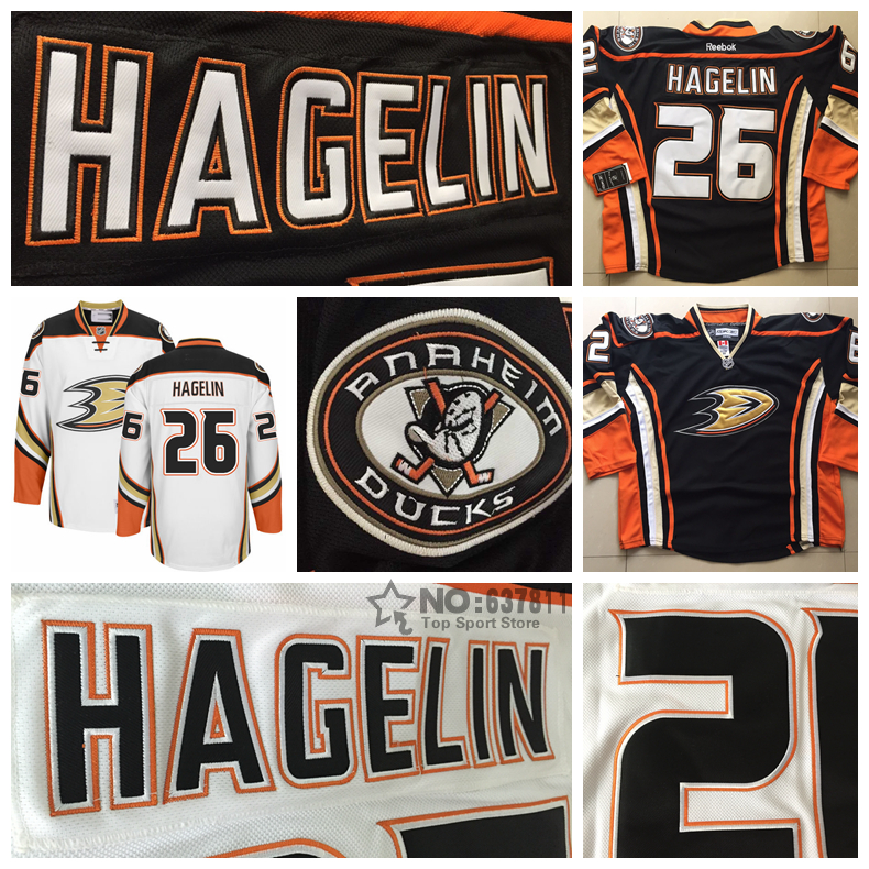 2016 Anaheim Ducks Hockey Jerseys 26 Carl Hagelin Jersey Home Black White Cheap Authentic Men's Carl Hagelin Stitched Jersey