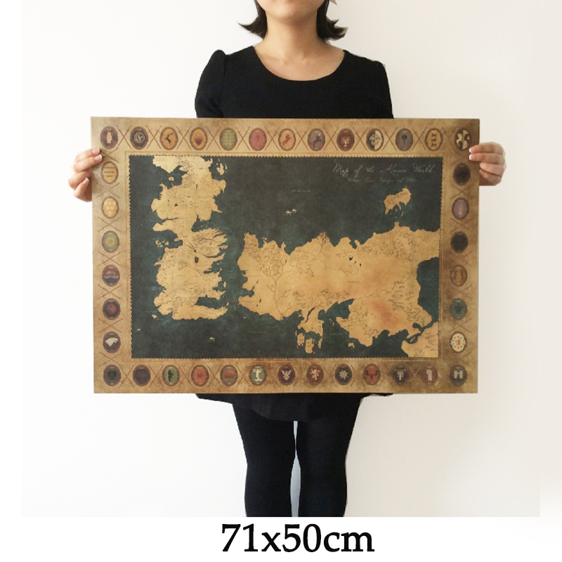 Game of Thrones World Map Vintage Kraft movie Poster Retro Wall art crafts sticker Living Room Paint Bar Cafe 71x51cm Free ship(China (Mainland))
