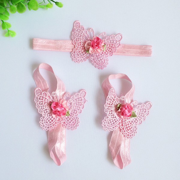 3 Pcs/Lot Girls Cute Foot Flower Barefoot Sandals+Headband Baby Set Elastic Hairbands Infant Kids Hair Accessories Headbands(China (Mainland))