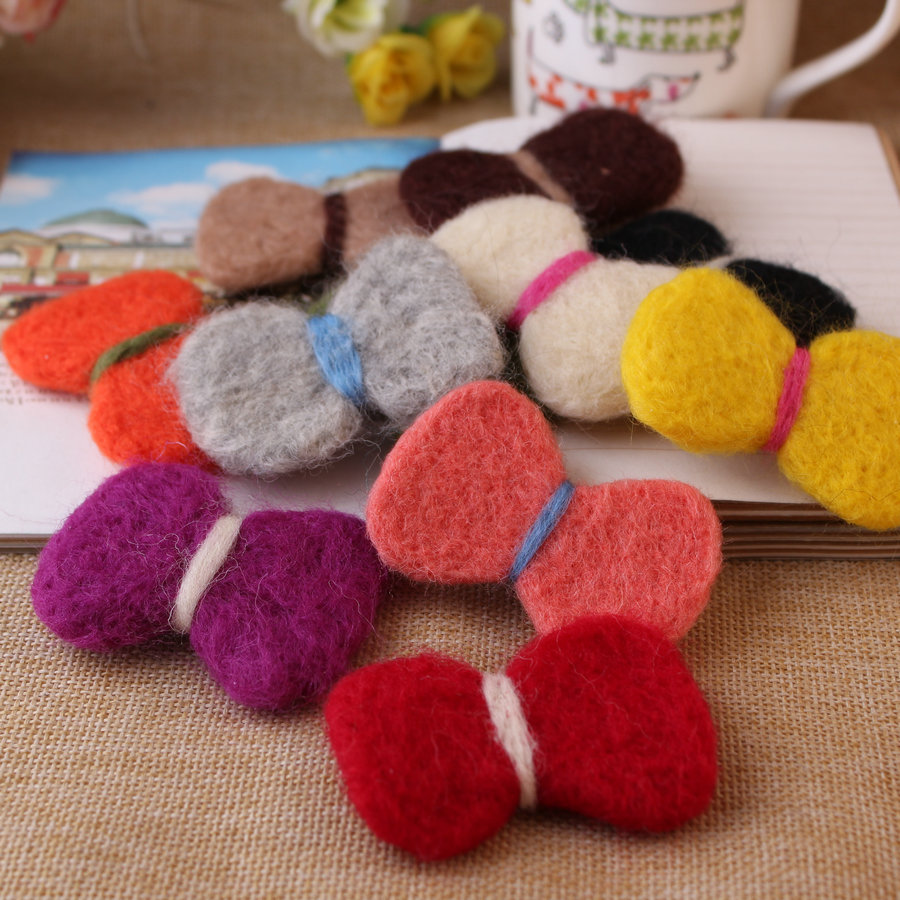 Free shipping handmade wool felt jewelry knot bow patch mix 20pcs flat woven garment hair clip brooch decoration materials(China (Mainland))