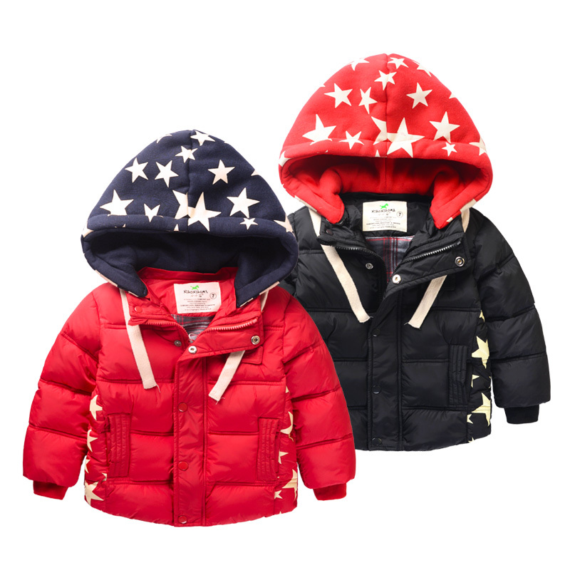 2014 autumn winter jackets children clothing Casual boy coat cotton parka kids Stars Hooded thick baby boys jacket