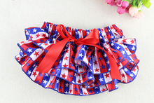 Toddler Girls Ruffle Bloomers rural style Flora print baby shorts with bow  multilayer infant Satin Underwear baby diaper cover(China (Mainland))