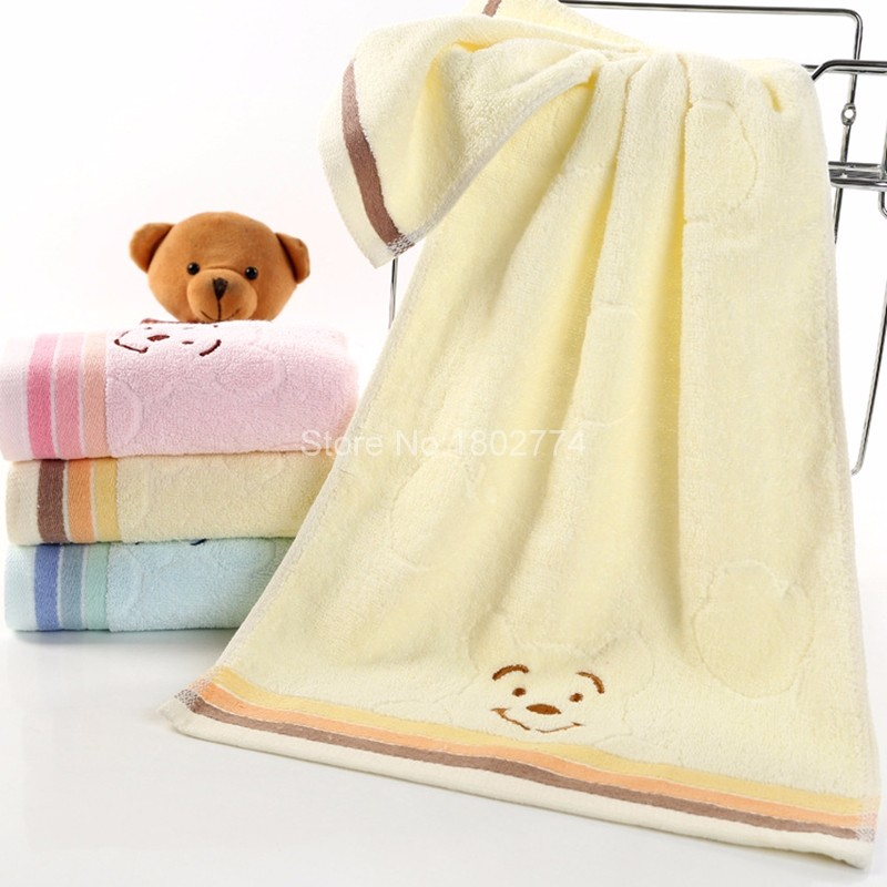 Universal Cartoon Embroidered Towel 33*74cm Blue Pink Yellow Cute Bear Cotton Wash Cloth Bath Hand Face Towel Washcloth XLMJ