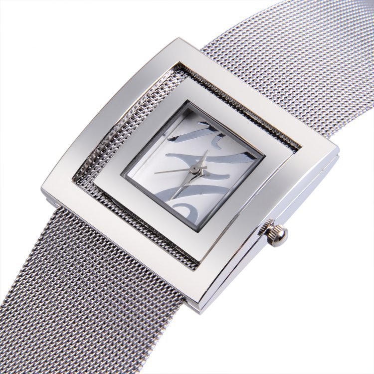 Upstart Watch& Hot Stainless Steel Net Belt Women Watches,Square Women Bracelet Watches,Business Gifts Watches(China (Mainland))