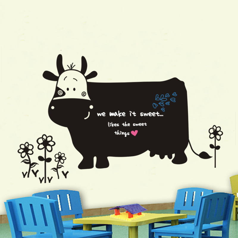 Removable 60x130cm Healthy PVC Lovely Cow Chalk Board Blackboard Wall Stickers Cartoon Animal Decor Mural Decals for Kids Rooms(China (Mainland))