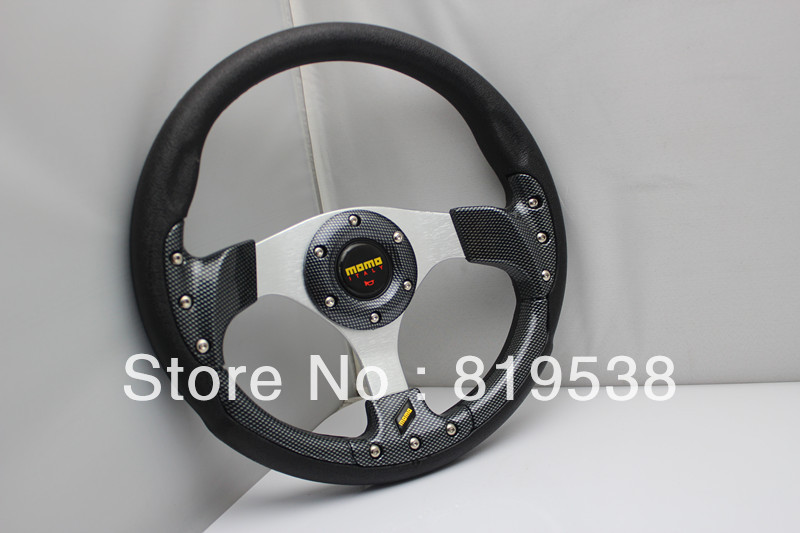 Free Shipping Specials imitation modified MOMO racing steering wheel 13-inch King changed PU White Carbon Black<br><br>Aliexpress