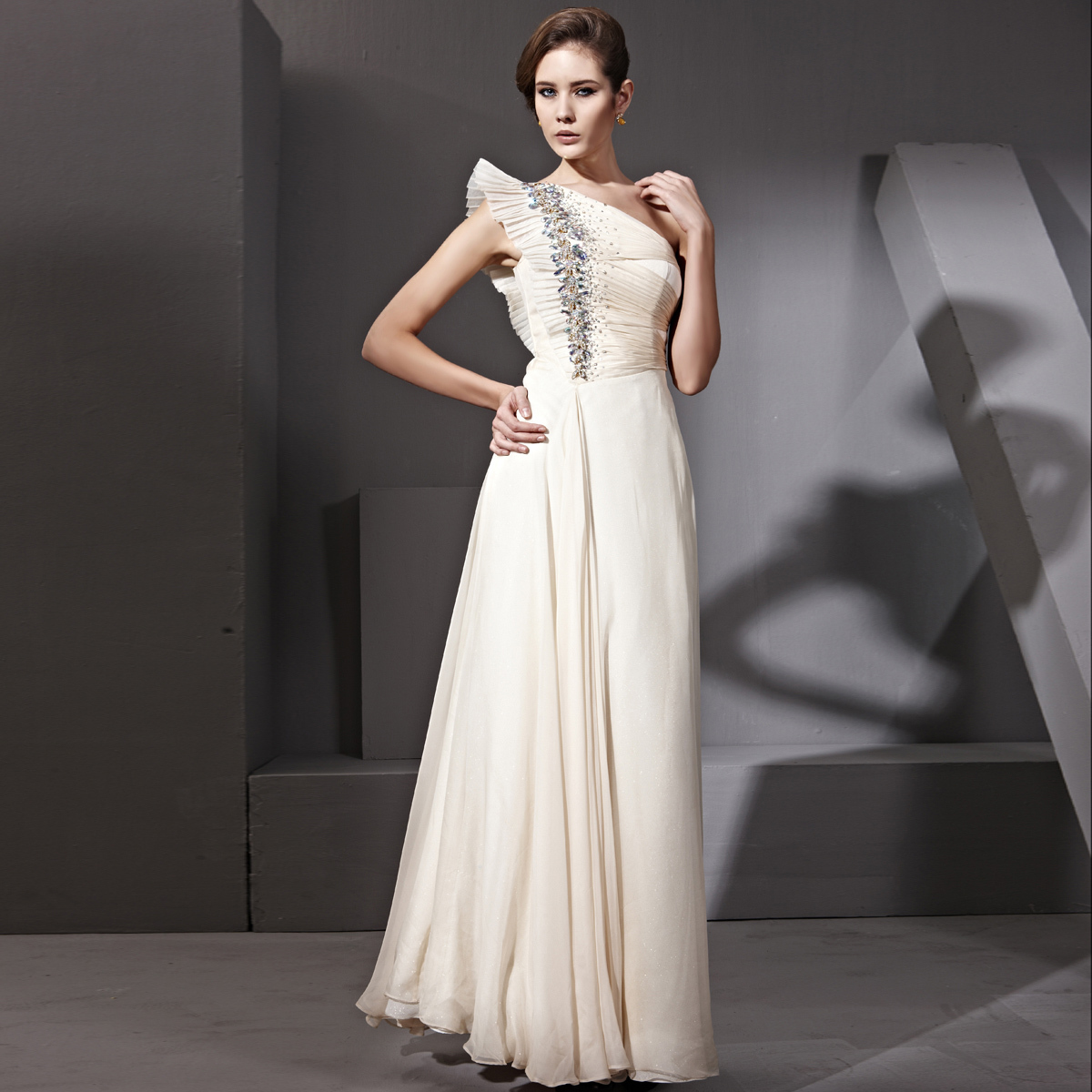 Creative fox one shoulder sleeve butterfly design long Wedding dress butterfly design