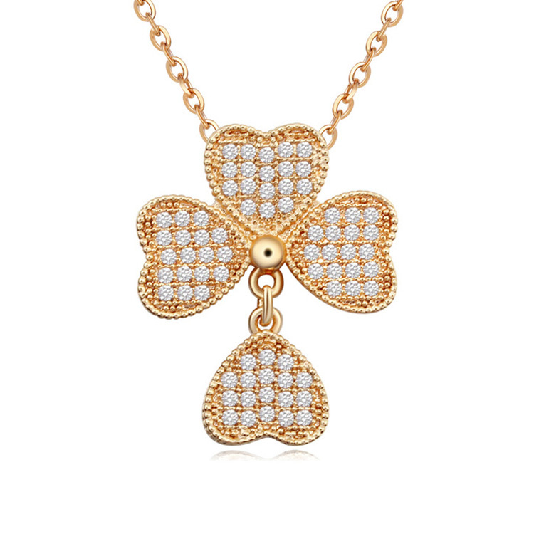 Brand new fashion women crystal necklace 18K gold jewelry gift TOP swing Clover Heart CZ Pendant Necklace 110176(China (Mainland))
