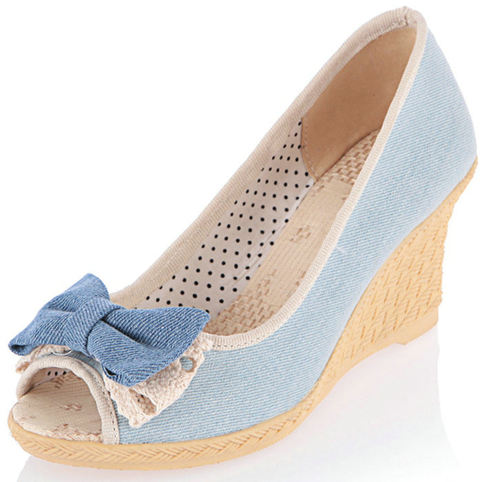 2016 Hot Sale Wedges Shoes Women high-heeled Sandals Denim Sweet Bow tie Peep Toe Jelly Shoes Rubber Pumps(China (Mainland))
